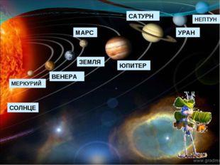 СОЛНЦЕ МЕРКУРИЙ ВЕНЕРА ЗЕМЛЯ МАРС ЮПИТЕР САТУРН УРАН НЕПТУН