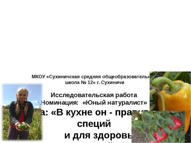 МКОУ «Сухиничская средняя общеобразовательная школа № 12» г. Сухиничи Исслед...