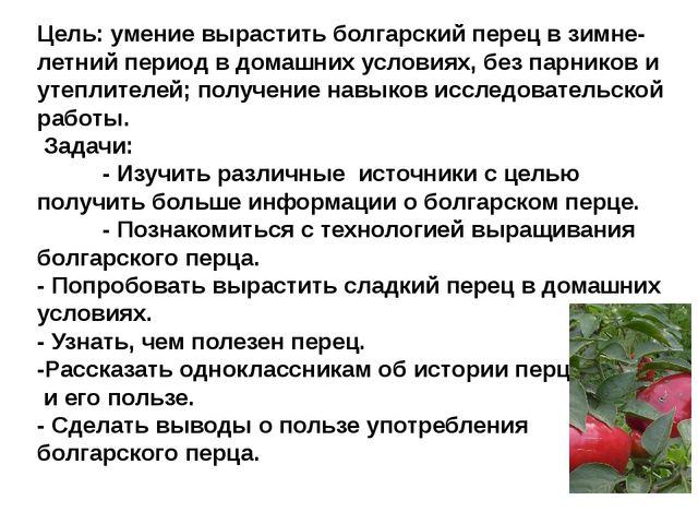 Цель: умение вырастить болгарский перец в зимне-летний период в домашних усло...