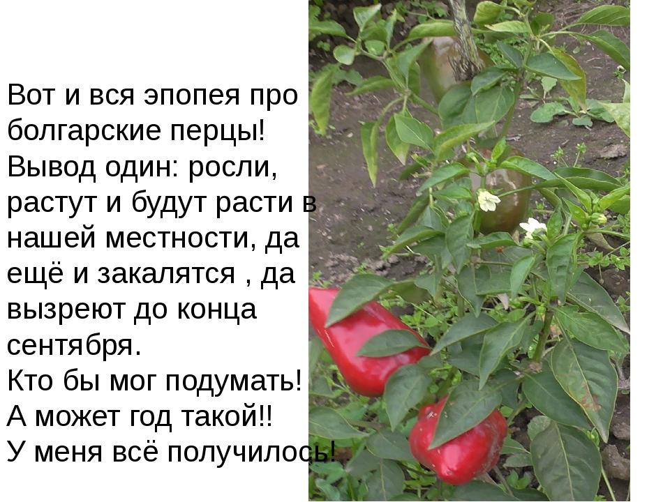 Вот и вся эпопея про болгарские перцы! Вывод один: росли, растут и будут раст...
