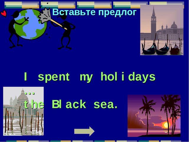 Вставьте предлог I spent my holidays … the Black sea.