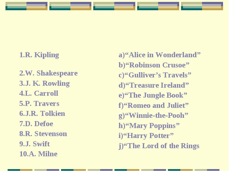 1.R. Kipling 2.W. Shakespeare 3.J. K. Rowling 4.L. Carroll 5.P. Travers 6.J.R...