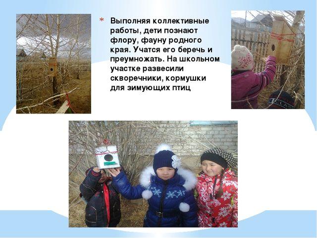 Выполняя коллективные работы, дети познают флору, фауну родного края. Учатся...