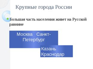 Крупные города России Большая часть населения живет на Русской равнине Москва