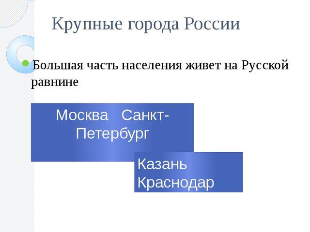 Крупные города России Большая часть населения живет на Русской равнине Москва...