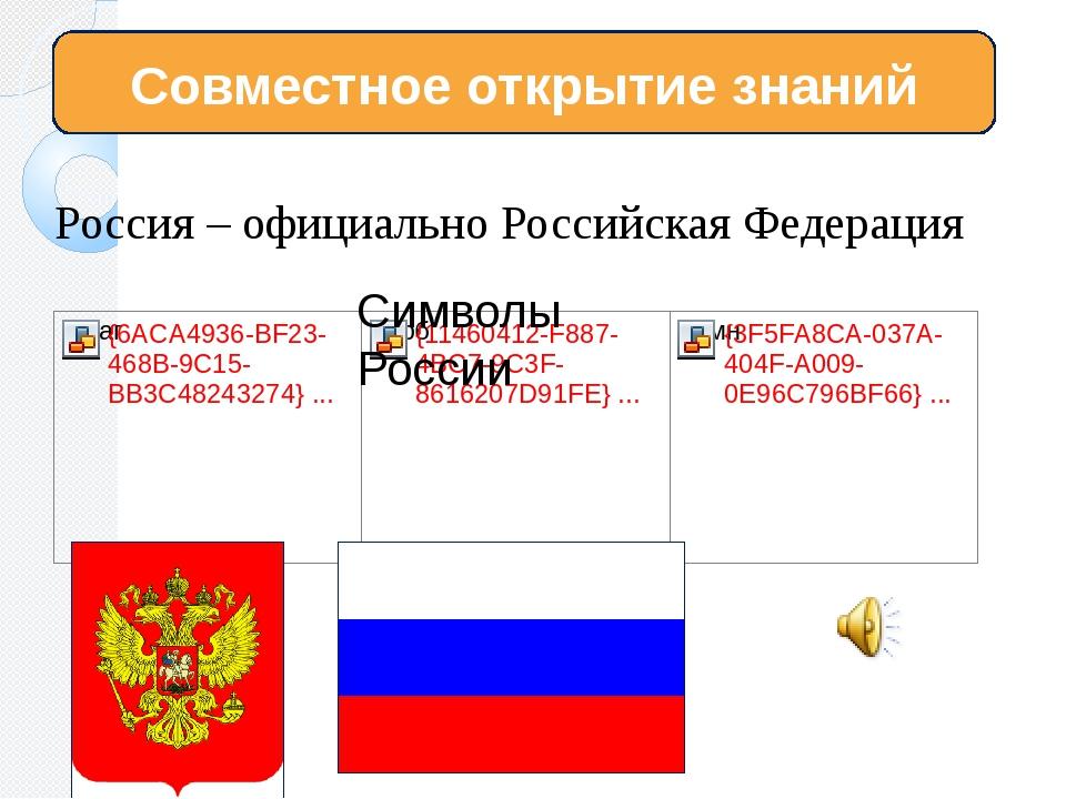 Россия – официально Российская Федерация Совместное открытие знаний Символы Р...