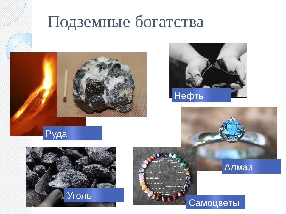 Подземные богатства Самоцветы Руда Уголь Нефть Алмаз