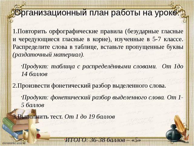 Организационный план работы на уроке: 1.Повторить орфографические правила (бе...