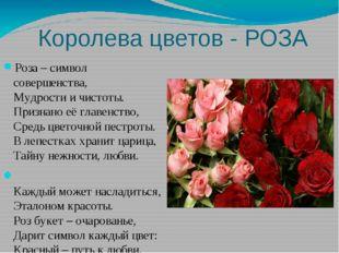 Королева цветов - РОЗА Роза – символ совершенства, Мудрости и чистоты. Призн