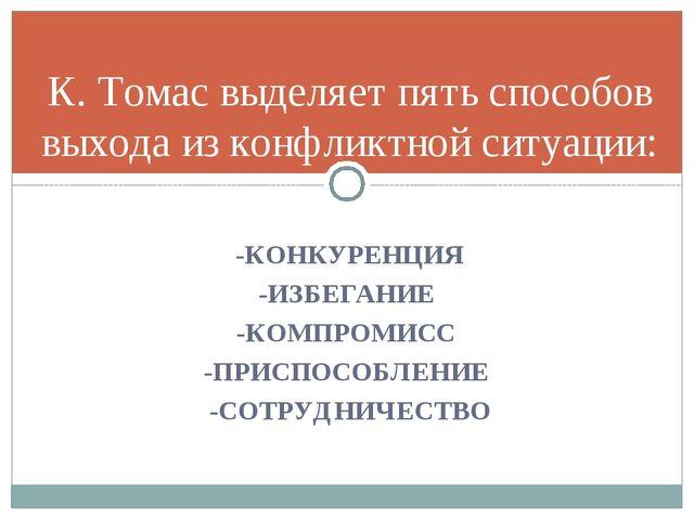 -КОНКУРЕНЦИЯ -ИЗБЕГАНИЕ -КОМПРОМИСС -ПРИСПОСОБЛЕНИЕ -СОТРУДНИЧЕСТВО К. Томас...