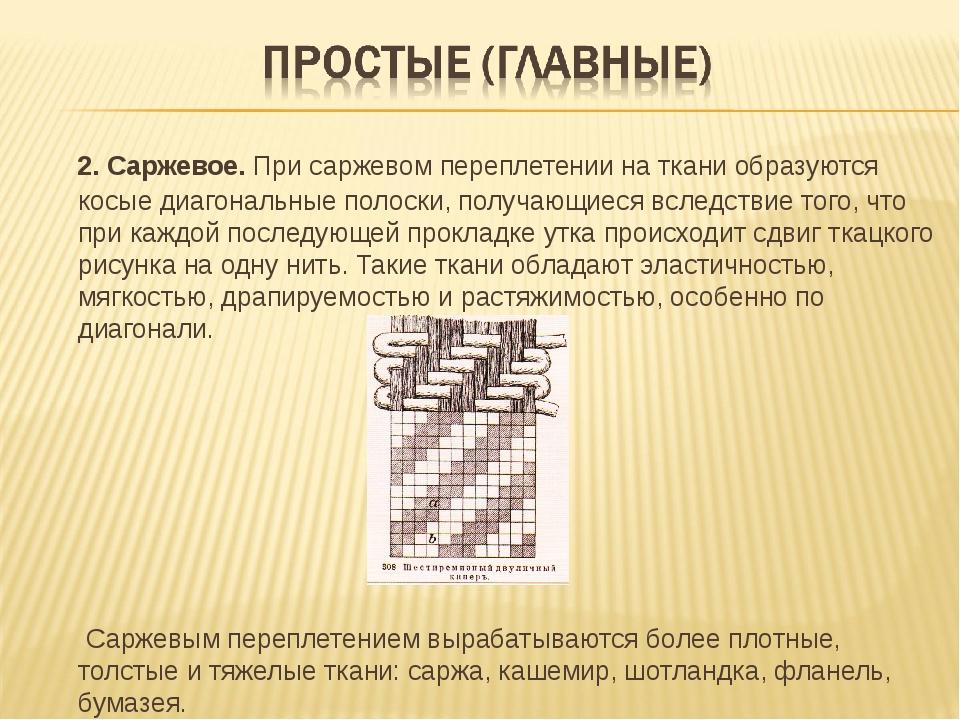 2. Саржевое. При саржевом переплетении на ткани образуются косые диагональны...