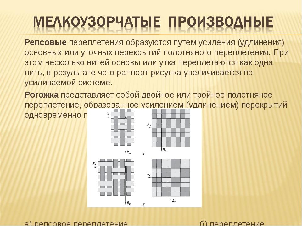 Репсовые переплетения образуются путем усиления (удлинения) основных или уто...