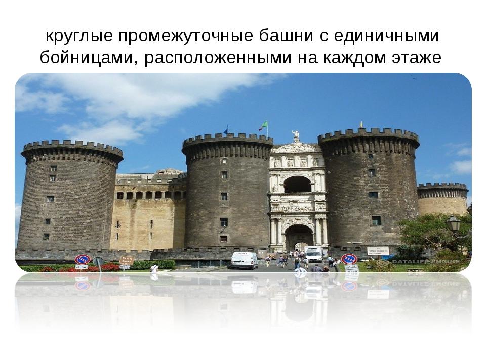 круглые промежуточные башни с единичными бойницами, расположенными на каждом...