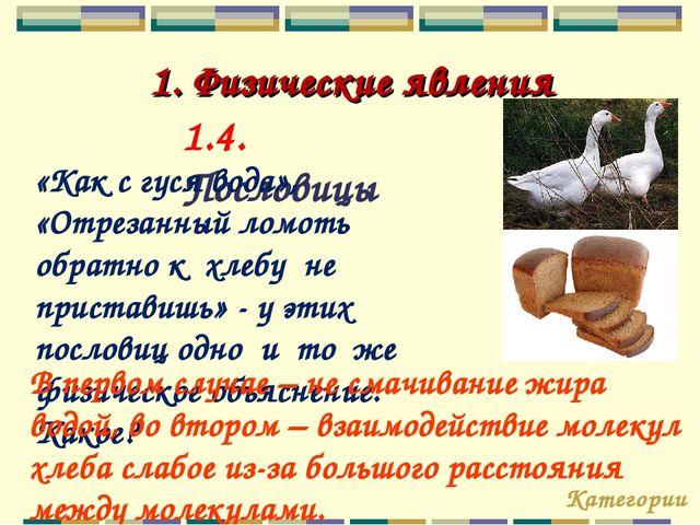 1. Физические явления 1.4. Пословицы «Как с гуся вода», «Отрезанный ломоть об...
