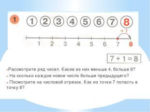 Рассмотрите ряд чисел. Какие из них меньше 4, больше 6? На сколько каждое нов
