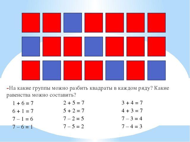 На какие группы можно разбить квадраты в каждом ряду? Какие равенства можно с...