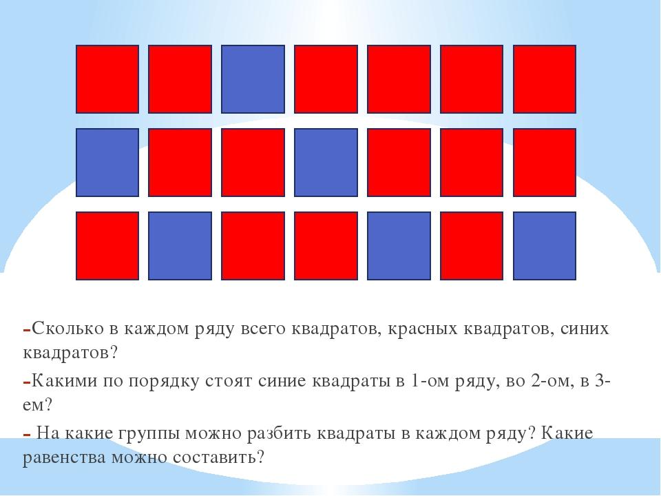 Сколько в каждом ряду всего квадратов, красных квадратов, синих квадратов? Ка...