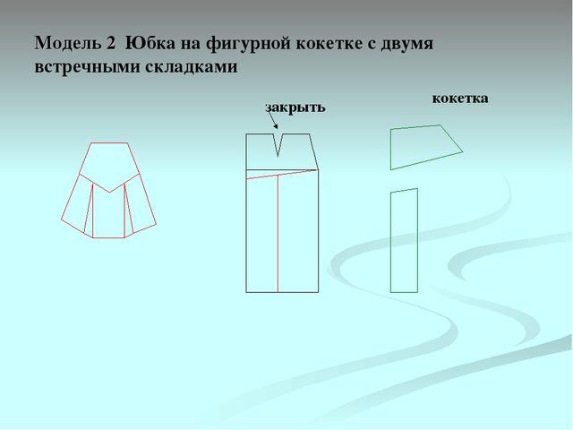 Модель 2 Юбка на фигурной кокетке с двумя встречными складками закрыть кокетка