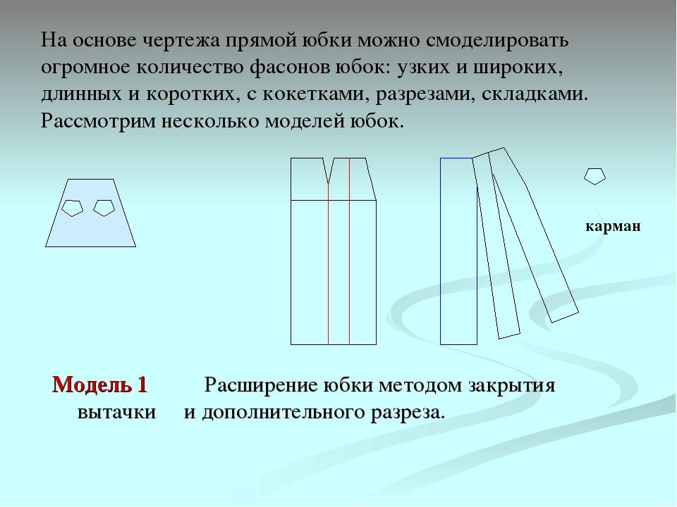 На основе чертежа прямой юбки можно смоделировать огромное количество фасонов...