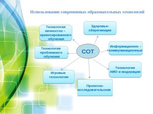 Использование современных образовательных технологий СОТ Информационно – комм