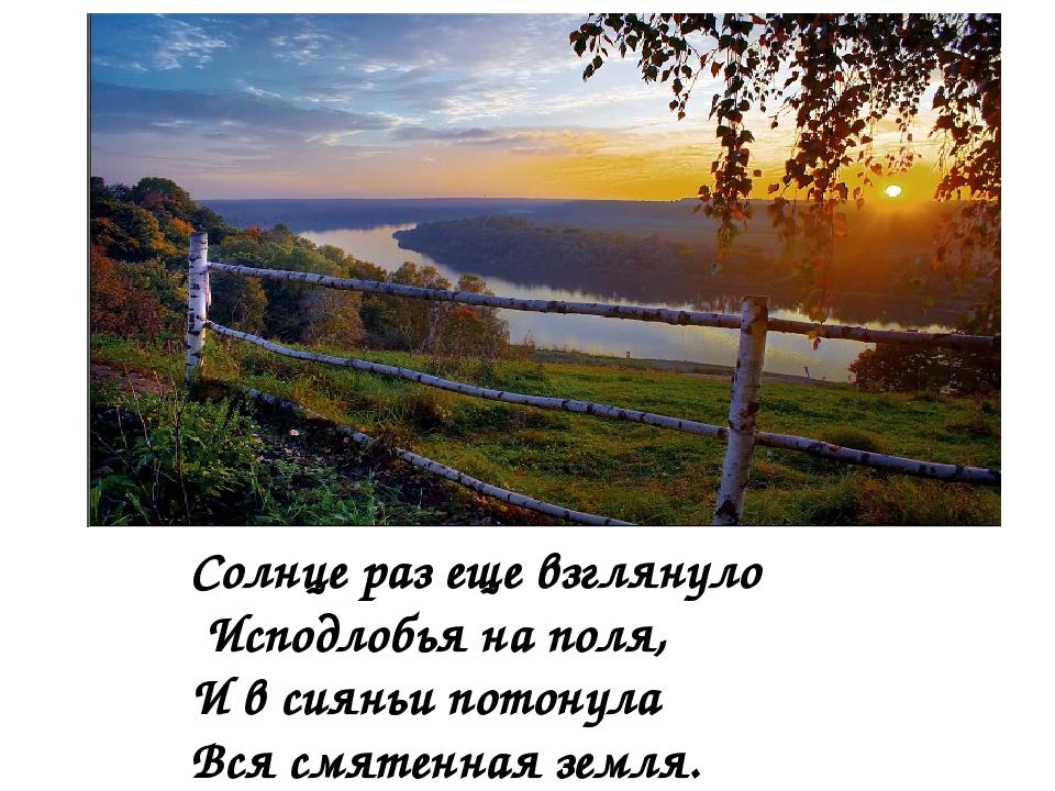 Солнце раз еще взглянуло Исподлобья на поля, И в сияньи потонула Вся смятенна...