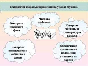 технологии здоровьесбережения на уроках музыки. Контроль звукового фона Чисто