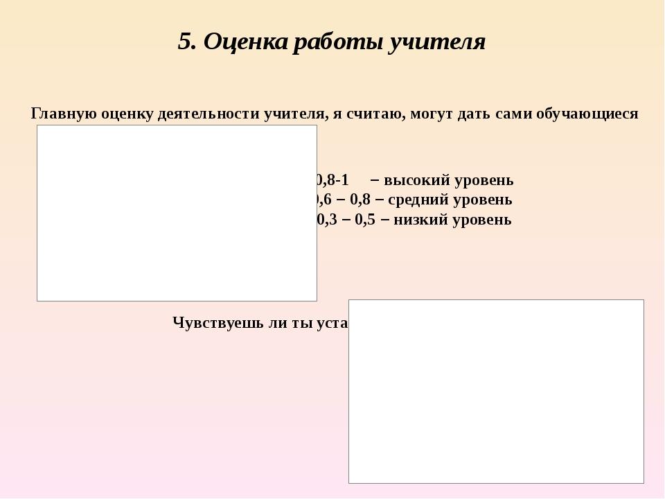 5. Оценка работы учителя Главную оценку деятельности учителя, я считаю, могут...