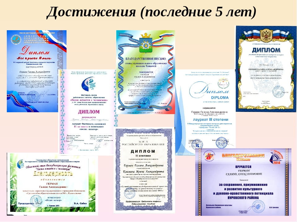 Достижения (последние 5 лет)