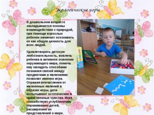 Экологические игры В дошкольном возрасте закладываются основы взаимодействия