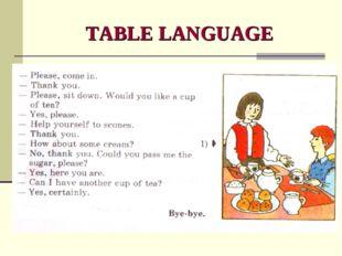 TABLE LANGUAGE