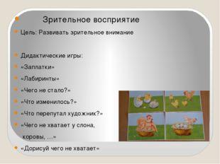 Зрительное восприятие Цель: Развивать зрительное внимание Дидактические игры
