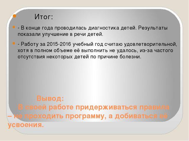 Вывод: В своей работе придерживаться правила – не проходить программу, а доб...