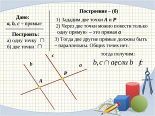 Зададим две точки А и Р 2) Через две точки можно повести только одну прямую –