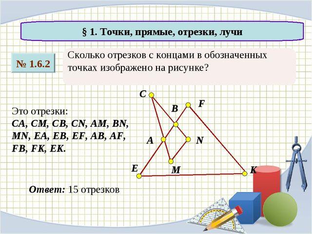 Сколько отрезков с концами в обозначенных точках изображено на рисунке? № 1.6...