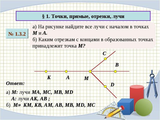 § 1. Точки, прямые, отрезки, лучи № 1.3.2 а) На рисунке найдите все лучи с на...
