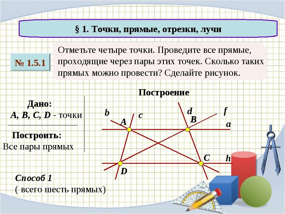 № 1.5.1 § 1. Точки, прямые, отрезки, лучи Отметьте четыре точки. Проведите вс...