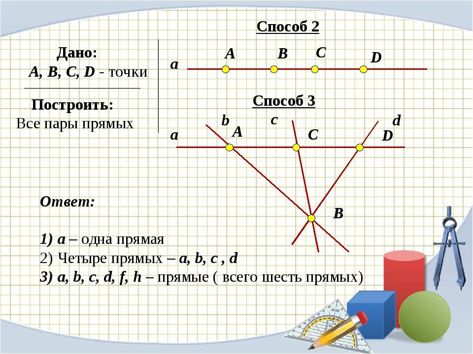 Ответ: a – одна прямая Четыре прямых – a, b, c , d a, b, c, d, f, h – прямые...
