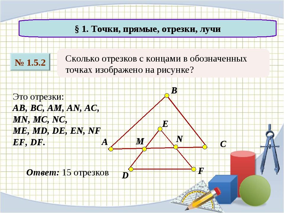 № 1.5.2 § 1. Точки, прямые, отрезки, лучи Сколько отрезков с концами в обозна...