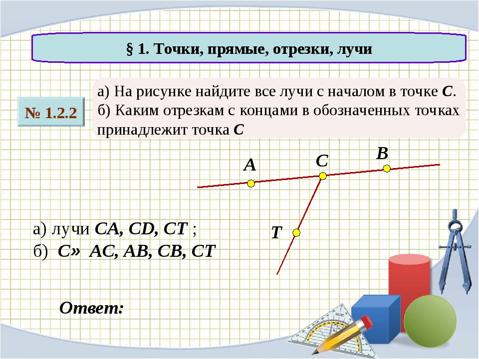 № 1.2.2 § 1. Точки, прямые, отрезки, лучи а) На рисунке найдите все лучи с на...