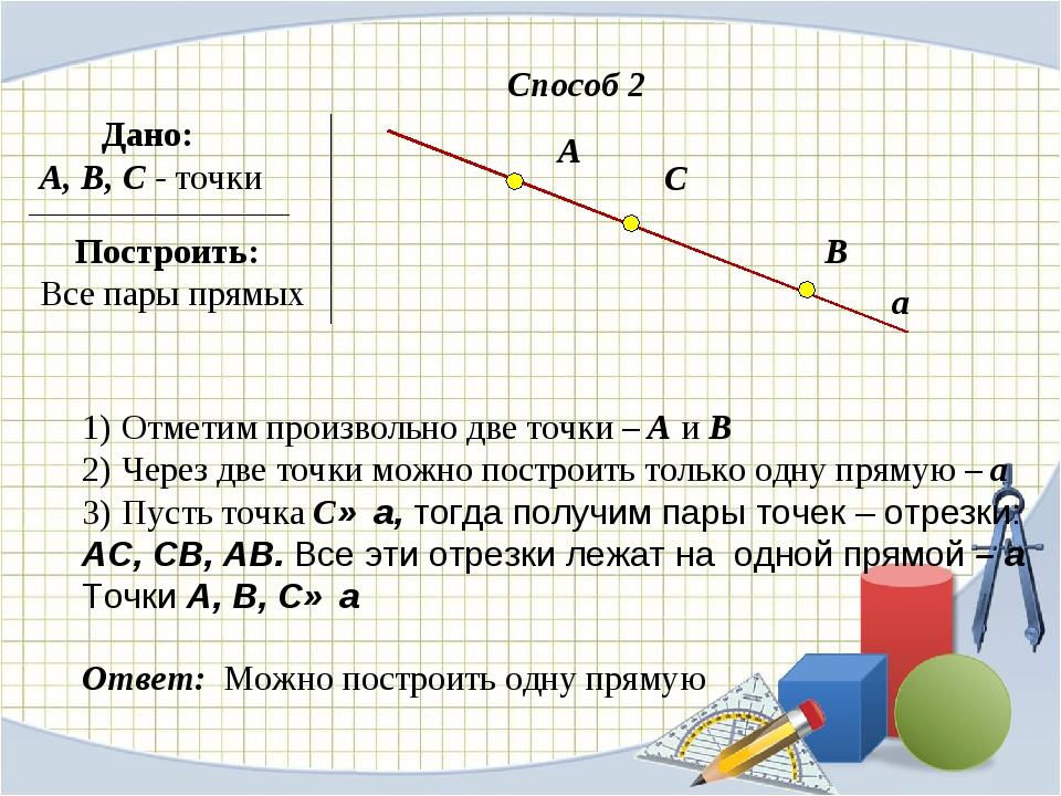 Дано: А, В, С - точки Построить: Все пары прямых Способ 2 а Отметим произвол...
