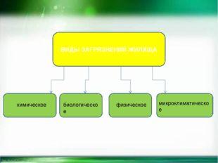 ВИДЫ ЗАГРЯЗНЕНИЙ ЖИЛИЩА химическое биологическое физическое микроклиматическое