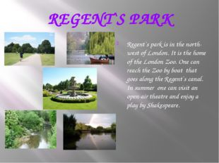 REGENT`S PARK Regent`s park is in the north-west of London. It is the home of