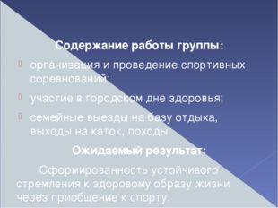 Содержание работы группы: организация и проведение спортивных соревнований;