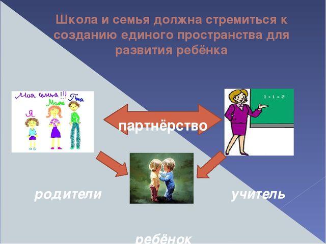 Школа и семья должна стремиться к созданию единого пространства для развития...