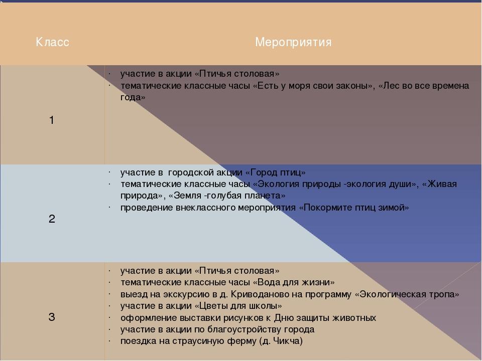 Класс Мероприятия 1 участие в акции «Птичья столовая» тематические классные...