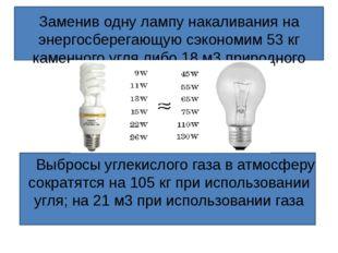 Заменив одну лампу накаливания на энергосберегающую сэкономим 3377 кг каменн