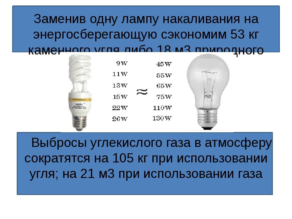 Заменив одну лампу накаливания на энергосберегающую сэкономим 3377 кг каменн...