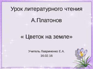 Урок литературного чтения А.Платонов « Цветок на земле» Учитель Лавриненко Е.