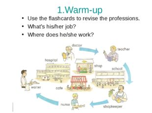 1.Warm-up Use the flashcards to revise the professions. What's his/her job? W