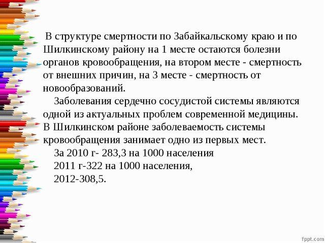 В структуре смертности по Забайкальскому краю и по Шилкинскому району на 1 м...